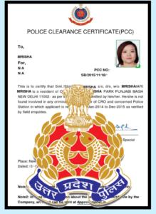 police cerector certificet Police character certificate